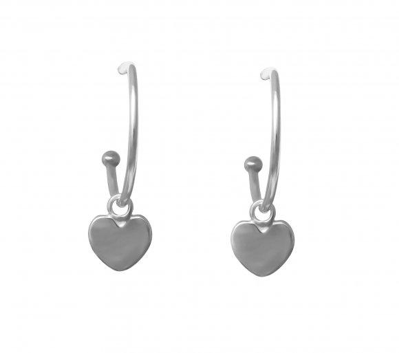 grav heart ezüst fülbevaló